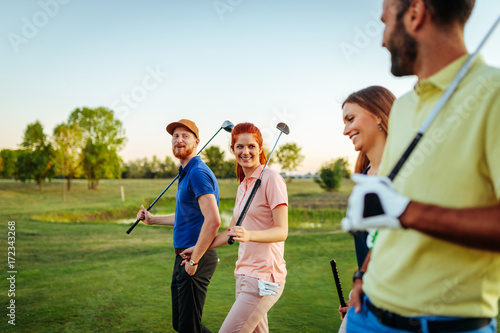 Deurstickers Golf Enemies on the field, friends off of it