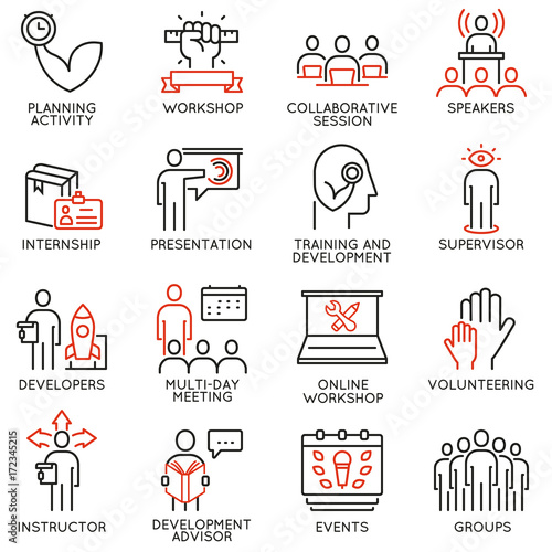 Vector set of 16 icons related to career progress, professional consulting service, training and development Canvas Print