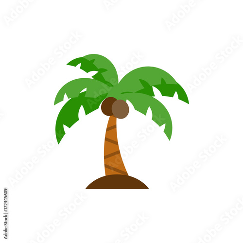 Palm tree icon flat Wall mural