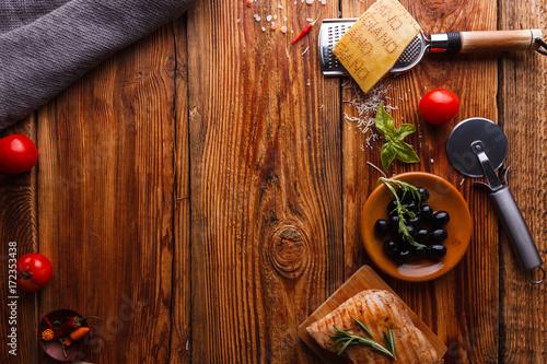 Foto op Plexiglas Fitness Wooden table