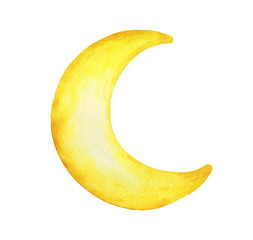 Fototapeta Yellow crescent moon painted isolation on white background - Watercolor illustration.