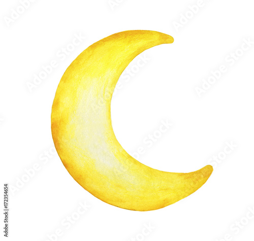 Stampa su Tela Yellow crescent moon painted isolation on white background - Watercolor illustration