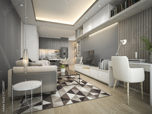 Papiers peints Retro 3d rendering luxury and modern living room with good design leather sofa