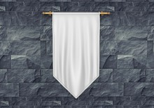 White Blank Vertical Flag Bann...