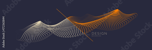Photo  Vector abstract background with dynamic waves, line and particles
