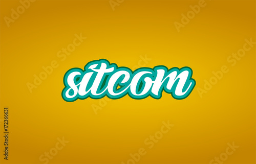 sitcom word text logo icon typography design green yellow Wallpaper Mural