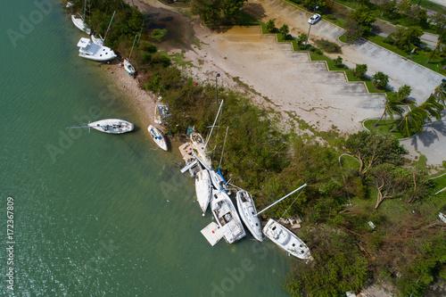 Boats washed ashore after Hurricane Irma Wallpaper Mural
