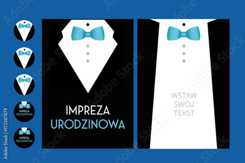 Fototapeta birthday party invitation with suit & bow tie- vector design for man male  obraz