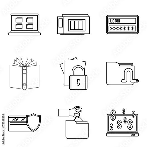Photographie  Secret document icons set, outline style