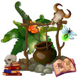 Camp witch or sorcerer with pot on firewood, ritual items, exotic plant. Halloween scenic concept. Vector plant in cartoon style. Illustration isolated on white background