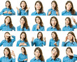 Collage of beautiful girl with different facial expressions