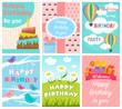 Cute Birthday card set. Vector illustration.