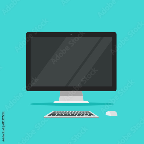 Photo Monitor keyboard and mouse vector illustration isolated on color background flat