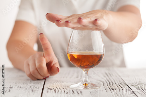 beautiful woman gesturing don't drink