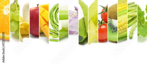 Collage of various type color fruits and vegetables © tang90246