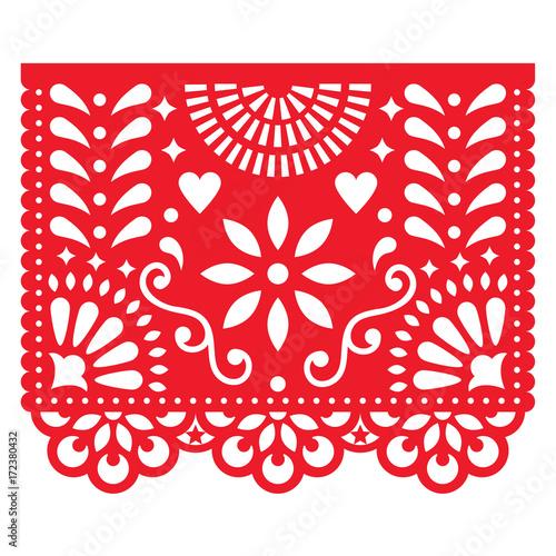 Mexican paper decorations - Papel Picado vector design, traditional fiesta banne Slika na platnu