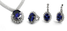 Ring, Necklace And Earrings With Sapphires, Tanzanite, Gems And Diamonds