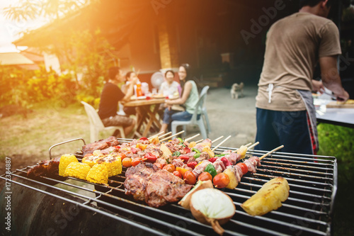 BBQ food party summer grilling meat. Fototapete