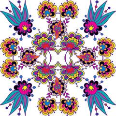 Complicated colorful decorative flower composition. Native motif of flower doodles. Floral vector illustration