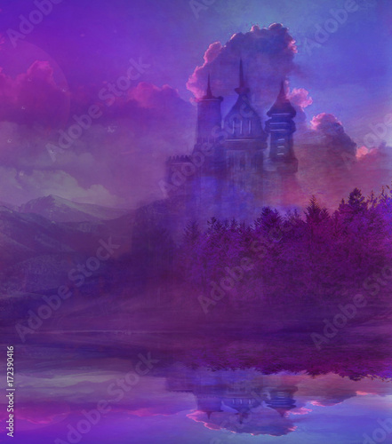 Spoed Foto op Canvas Violet Abstract fairytale castle