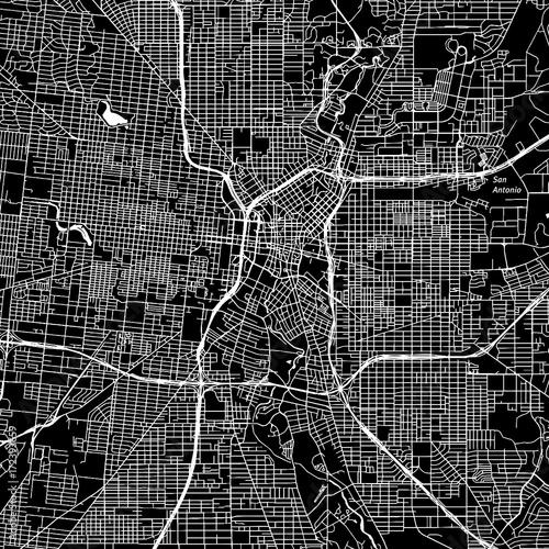 San Antonio, Texas. Downtown vector map. Canvas Print