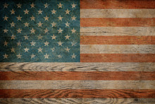 Grunge USA Flag On Wood Background