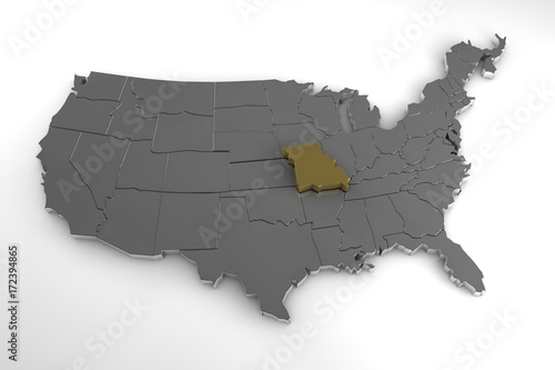 United states of america 3d metallic map with missouri state united states of america 3d metallic map with missouri state highlighted 3d render gumiabroncs Gallery