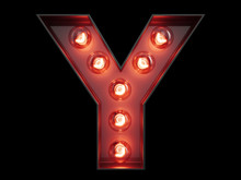 Light Bulb Alphabet Character Y Font