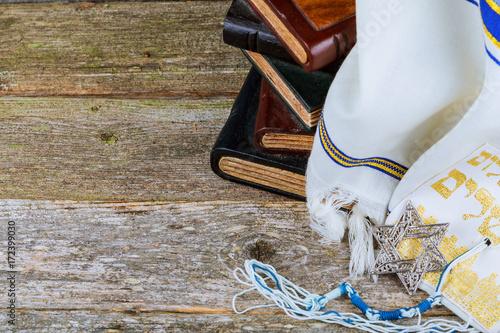 Fotografie, Obraz  Prayer Shawl - Tallit, jewish religious symbol. Selective focus