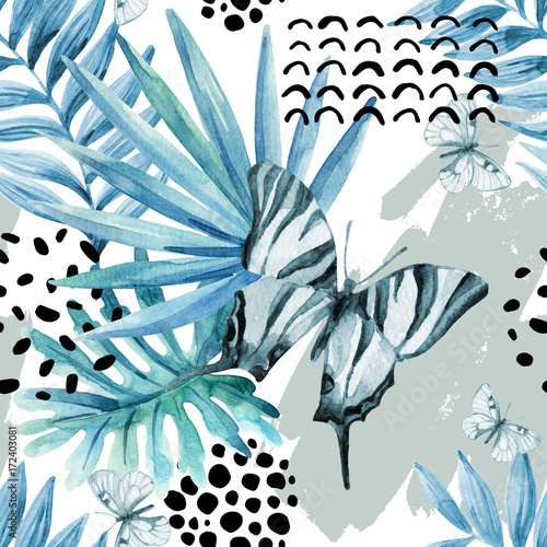 Fototapeta Watercolor graphical illustration: exotic butterfly, tropical leaves, doodle elements on grunge background