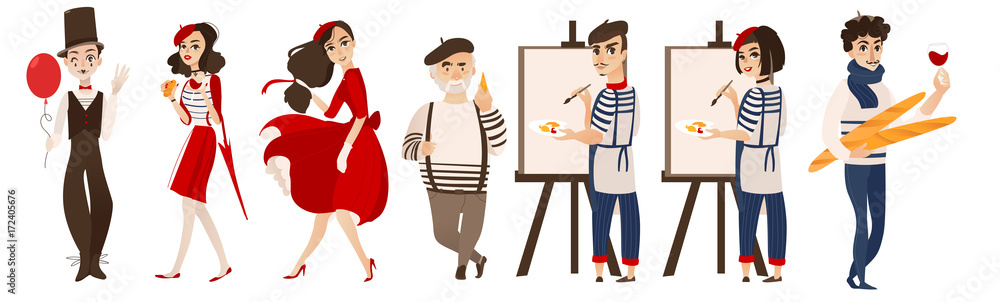 Fototapety, obrazy: French characters, mimes and artists with cheese, baguette, wine as symbols of France, flat cartoon vector illustration isolated on white background. French people, mimes, artists - symbols of France