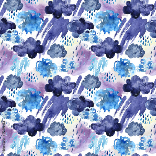Poster Aquarel Natuur Watercolor seamless pattern of rainy clouds.