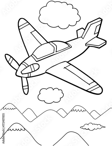 Poster Cartoon draw Cute Aircraft Vector Illustration Art