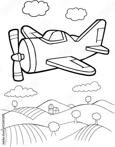 Papiers peints Cartoon draw Cute Aircraft Vector Illustration Art