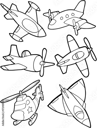 Wall Murals Cartoon draw Cute Aircraft Vector Illustration Set