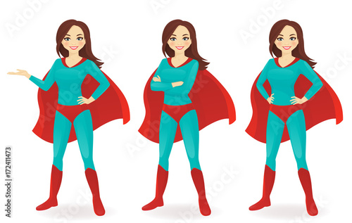 Photo  Superwoman in different poses vector illustration set
