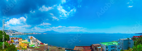 Foto op Plexiglas Caraïben Panorama of Naples, view of the port in the Gulf of Naples, Mount Vesuvius and Capri island. The province of Campania. Italy.