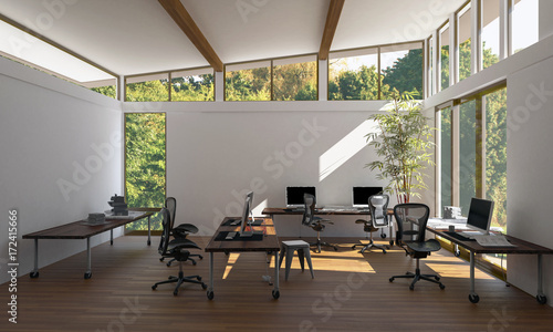 Obraz Contemporary, bright empty eco office workspace - fototapety do salonu