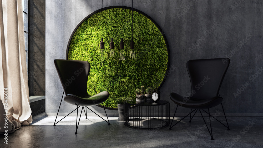 Fototapety, obrazy: Chairs standing by wall with round moss art