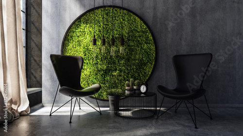 Fototapeta  Chairs standing by wall with round moss art