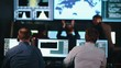 Group of People in Mission Control Center filled with Displays, Celebrating Successful Rocket Launch.