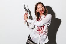 Happy Insane Zombie Woman Hold...
