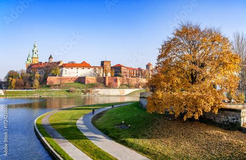 Plakat Wawel i Wisła jesienią, Kraków Polska