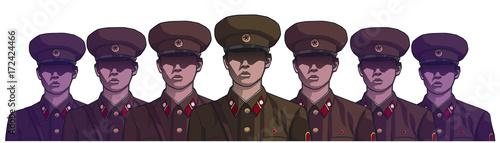 Cuadros en Lienzo  Illustration of north korean soldiers wearing uniform in color