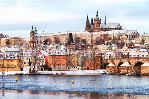 Prague Castle and Charles Bridge at winter, Czech Republic.