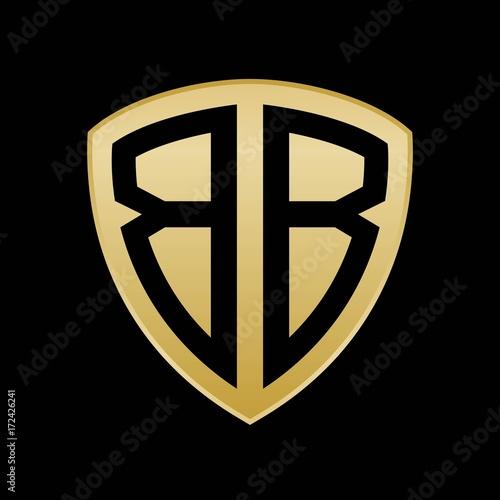 Initial letters logo bb gold monogram shield shape vector Wallpaper Mural