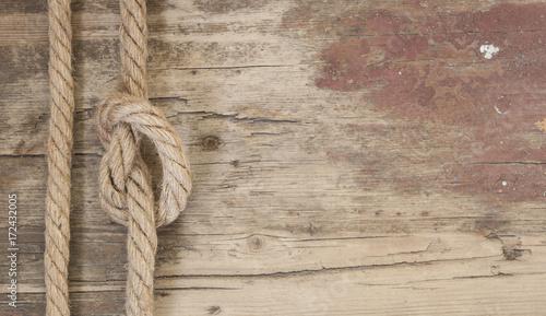 Keuken foto achterwand Schip Ship rope on the wooden background