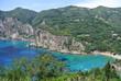 View of Paleokastritsa and turquoise water, Corfou island, Greece