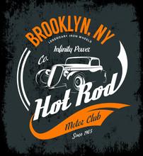 Vintage Hot Rod Vector Logo Co...