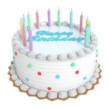 3d Illustration Of A Birthday Cake
